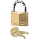 Master Lock Keyed Padlock, Keyed Different - Brass Body, Steel Shackle - Brass