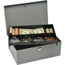 MMF Heavy-gauge Steel Cash Box with Security Lock, Steel - Gray - 4.4