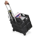 Safco Stow Away Folding Caddy, Telescopic Handle - 50 lb Capacity - 2 Caster - 16.5