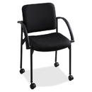 Safco Moto Stack Chair, Polyester Black Seat - Upholstery Back - Steel Black Frame - 23.5