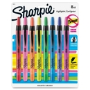Sharpie Accent Retractable Highlighter, Chisel Marker Point Style - Assorted Ink - Assorted Barrel - 8 / Set