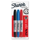 Sharpie Super Twin Permanent Marker, Fine Marker Point Type - Chisel Marker Point Style - Assorted Ink - 3 / Set