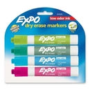 Expo Low-Odor Dry Erase Marker, Chisel Marker Point Style - Aqua, Lime, Pink, Turquoise Ink - 4 / Pack