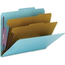 Smead 14030 Blue Colored Pressboard Classification Folders with SafeSHIELD Fasteners, Letter - 8.50