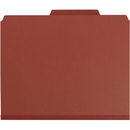 Smead 14079 Red Pressboard Classification Folders with Pocket-Style Dividers and SafeSHIELD Fasteners, Letter - 8.50