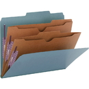 Smead 14081 Blue Pressboard Classification Folders with Pocket-Style Dividers and SafeSHIELD Fasteners, Letter - 8.50