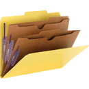 Smead 14084 Yellow Pressboard Classification Folders with Pocket-Style Dividers and SafeSHIELD Fasteners, Letter - 8.50