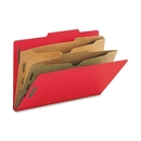 Smead 19082 Bright Red Pressboard Classification Folders with Pocket-Style Dividers and SafeSHIELD Fasteners, Legal - 8.50