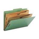 Smead 19083 Green Pressboard Classification Folders with Pocket-Style Dividers and SafeSHIELD Fasteners, Legal - 8.50