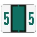 Smead 67375 Dark Green BCCRN Bar-Style Color-Coded Numeric Label - 5, 1.25