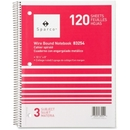 Sparco 3-Subject Quality Wirebound Notebook, 120 Sheet - 16 lb - College Ruled - 8