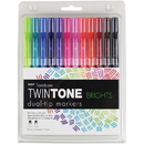 Tombow TwinTone Brights Dual-tip Marker Set, TOM61500