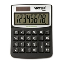 Victor 11000 Mini Desktop Calculator, 8 Character(s) - LCD - Battery/Solar Powered - 0.5