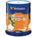 Verbatim DVD-R 4.7GB 16X White Inkjet Printable - 100pk Spindle - TAA Compliant