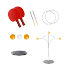 GOGO Table Tennis Trainer Stable Stainless Steel Base Elastic Shaft (3 Ball+2 Bats)