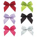 Muka 200 pcs Polka Dot Satin Ribbon Bows Flowers Appliques DIY Sewing Craft Clothing Hair Accessories