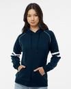 J.America 8645 Women's Varsity Fleece Piped Hooded Sweatshirt
