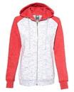J.America 8679 Women's Mélange Fleece Colorblocked Full-Zip Sweatshirt