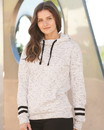 J.America 8674 Women's Mélange Fleece Striped-Sleeve Hooded Sweatshirt
