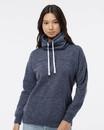 J.America 8673 Women's Mélange Fleece Cowl Neck Sweatshirt