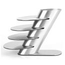 Aspire Stainless Steel Cup Coasters Pack of 4, Round Silver Coasters with L Shape Holder, Party Favor
