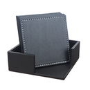 Aspire Bulk Square Faux Leather Coaster Set, 6 Beverage Coasters with Matching Holder Office Favors
