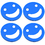 Aspire Set of 4 Cute Smile Face Kitchen Coaster, Plastic Beverage Cup Mats with Matching Holder