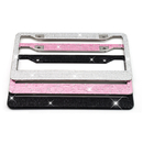 Muka 2 Pack Bling White Rhinestone Metal License Plate Frames with Crystal Screw Caps US Standard