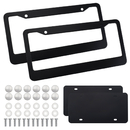 Muka 2 Pack Metal License Plate Frames, 2PCS Aluminum Frames and 2PCS Stainless Steel Plates