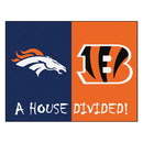 Fanmats 19295 NFL - Broncos - Bengals House Divided Rug 33.75