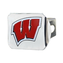 Fanmats 22853 University of Wisconsin Color Hitch Chrome 3.4