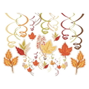 Amscan Fall Foliage 30-Piece Swirl Hanging Decorations Mega Value Pack (Pack of 30)