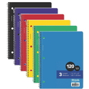 Bazic Products 3-Subject College Ruled Spiral Notebooks Value Pack