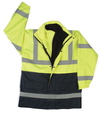 Safety Flag ANSI/ISEA 107-2004 Class 3 Parka Green/Black w/ Silver Stripe