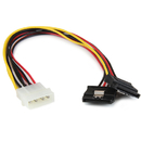 Startech PYO2LP4LSATA 12in LP4 to 2x Latching SATA Power Y Cable Splitter Adapter - 4 Pin Molex to Dual SATA