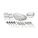Stansport 11220-03 Deluxe 24-Piece Enamel Tableware Set - White