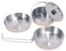 Stansport 360 Stainless Steel Mess Kit - 1 Pan, 1 Saucepan, 1 Plate