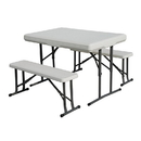 Stansport 616 Folding Table With Bench Seats -White- 44 In X 26 In X 28 In