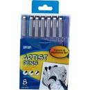 Pro Art PRO22108 Black Artist Illustrating Pens - 8Pk
