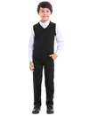 TOPTIE Boys V-Neck Cotton Knit Sleeveless Pullover School Uniform Sweater Vest (Navy / Black)