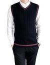 TOPTIE Men's 100% Cotton Knit Sweater Vest