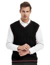 TopTie Men's V-Neck Cotton Cable Knit Sweater Vest Slim Fit Casual Waistcoat