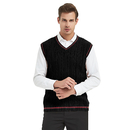 TopTie Men's V-Neck Cotton Cable Knit Sweater Vest Slim Fit Casual Waistcoat