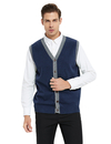 TOPTIE Men's Sweater Cardigan Vest Slim Fit Stylish Button Down Knitted