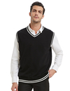 TOPTIE Mens Sweater Vest, Black and White Trimmed V-Neck Soft Knit Pullover