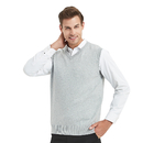 TOPTIE Men's V-Neck 100% Cotton Knit Sweater Vest
