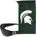 Siskiyou Buckle Michigan St. Spartans Chrome Wrap Sunglasses and Bag, 2CCP41EB