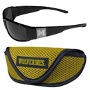 Siskiyou Buckle Michigan Wolverines Chrome Wrap Sunglasses and Sport Carrying Case, 2CCW36SC