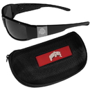 Siskiyou Buckle Ohio St. Buckeyes Chrome Wrap Sunglasses and Zippered Carrying Case, 2CCW38HC