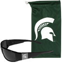 Siskiyou Buckle Michigan St. Spartans Etched Chrome Wrap Sunglasses and Bag, 2CCW41EB